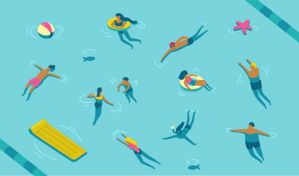 Fondo dibujo de una piscina concurrida de gente